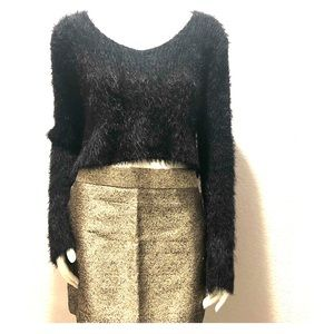 Forever 21 black cropped fuzzy sweater
